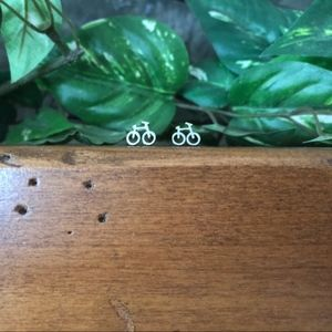 Jewelry - Silver Plated Bicycle Earrings